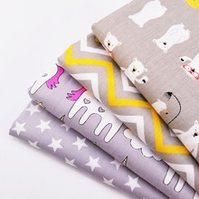 Optional Sizes Cotton Patchwork Twill Quilting Fabric Bear/Unicorn/Star/Stripe Printed Childish Style For Kids