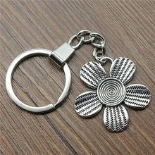 35x34mm Flower Key Ring 2019 New Vintage Metal Chain Party Gift Dropshipping Jewellery