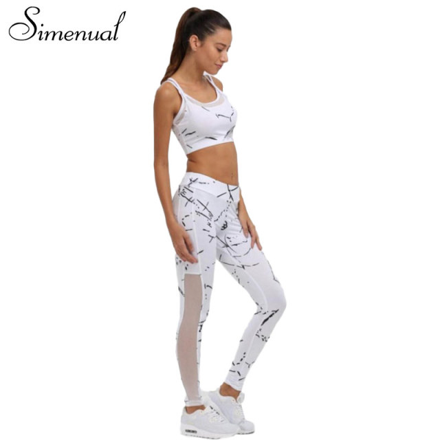 Simenual 2017 Summer tracksuit sportswear print mesh splice bras and leggings 2pcs suit women tracksuits fitness sexy slim sets