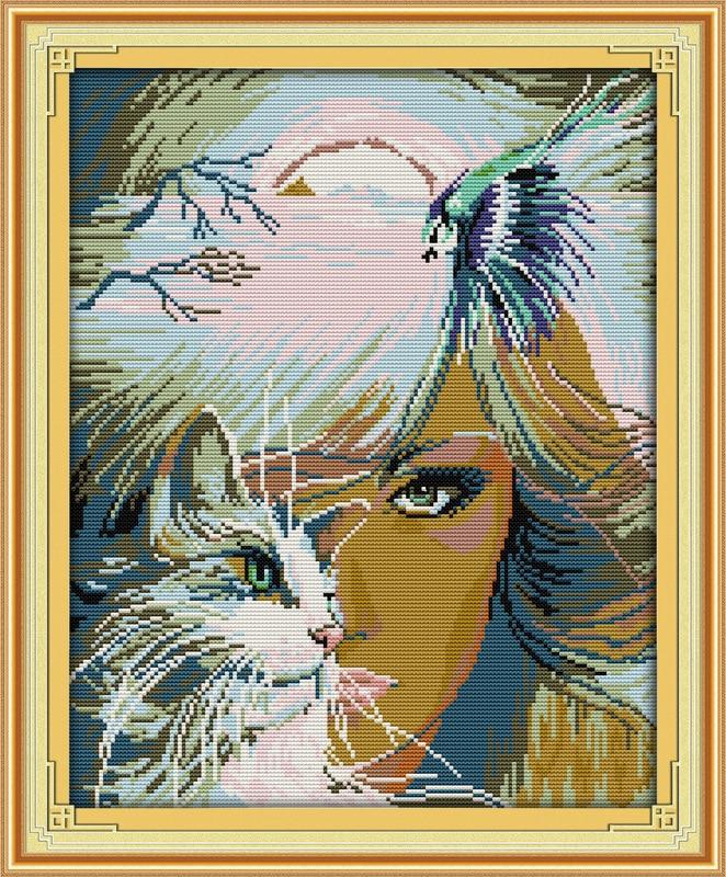 Fantasie Meisje en kat Bedrukt canvas DMC geteld Chinees - Kunsten, ambachten en naaien
