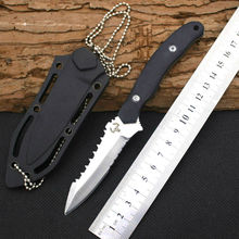 Hot Necklace Survival Knife OX Fixed 5CR13MOV Steel Blade Knife Wood Handle Huntting Tactical Knives Camping Outdoor EDC Tools Y