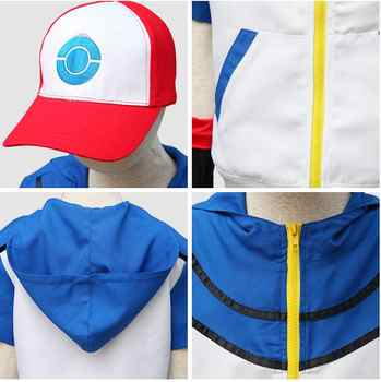 Adult child Quality Pokemon Ash Ketchum Cosplay Costume Hoodies + Pants + Gloves + Hat Ash Ketchum Halloween Costumes