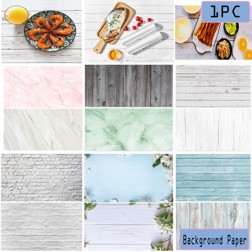 Ins Style Photography Backdrop Paper Double-sided Wood Grain Marble Printed Wood Board Graphic Background Photo Props Creative
