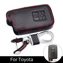 Genuine Leather Cases Auto Cover Fob Key For Toyota Land Cruiser Smart Buttons 2 Ring With Car Style