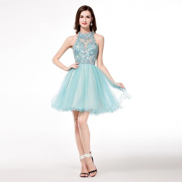 5368c3f34 Cuello alto Multicolor Más El Tamaño 18 Vestidos de Fiesta Con Cuentas  Apliques de Encaje Corto