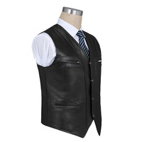 HOCO 2019male sheep skin leather waistcoat v neck double bag leather vest