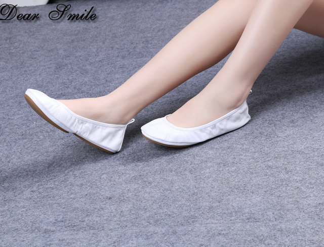 aa03bf5da New Arrival Women White Ballet Flats Comfortable Folding Ballerina for Wedding  Party