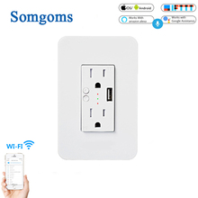 Wifi Smart Wall Power Socket Outlets Plug 2 USB Socket Smart Life/Tuya APP Remote Control Anywhere Work with Alexa Google Home qiachip wifi smart home socket app remote control light switch work with amazon alexa google home for phone french plug socket