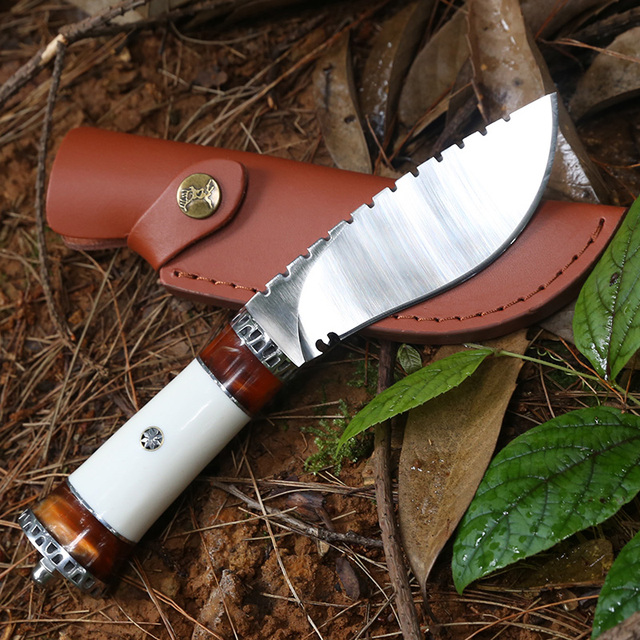 57HRC Handmade Fixed Blade Knife Survival Outdoor Camping Hiking Hunting Knives  Travel Kit Fishing Saber Pocket EDC Tool