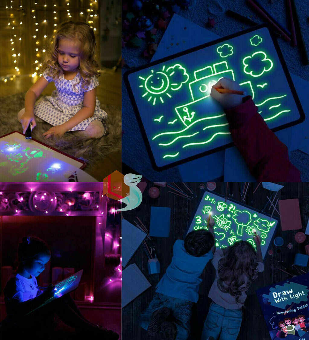 NEW kid toys Glowing Paint Glow Light Tablet draw with light-fun developing toy Puzzle Education child intellectual intelligence