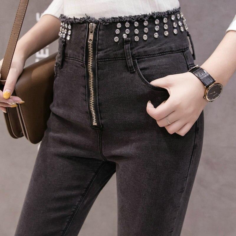 Jacquard Lourd De Collants bleu Neuf Leggings Pantalon minute Femme Nouvelle Coupé 2019 Industriel Dames Jeans Noir Mode Femmes Moulant I0Uxqxvn