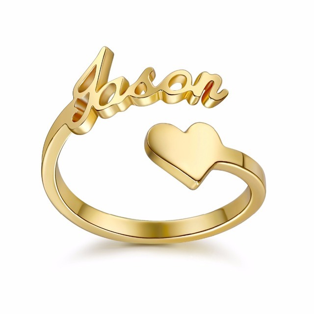 e6a24e9009 3UM heart custom Spiral Ring Personalized Name Ring With Heart Custom  Nameplate Ring For Couple Lover Graduation Keepsake Gift-in Rings from  Jewelry ...