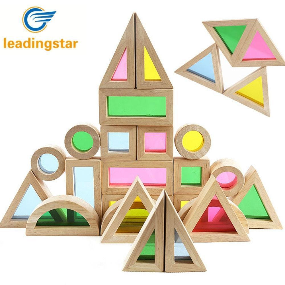 LeadingStar Kids Creative Acrylic Rainbow Building Puzzle DIY Puzzle Wooden Stacking Tower Toys ZK25 101pcs cubicfun mc101 burjal arab hotel dubai architectural features puzzle 3d models collectible kids toys 3d puzzle models