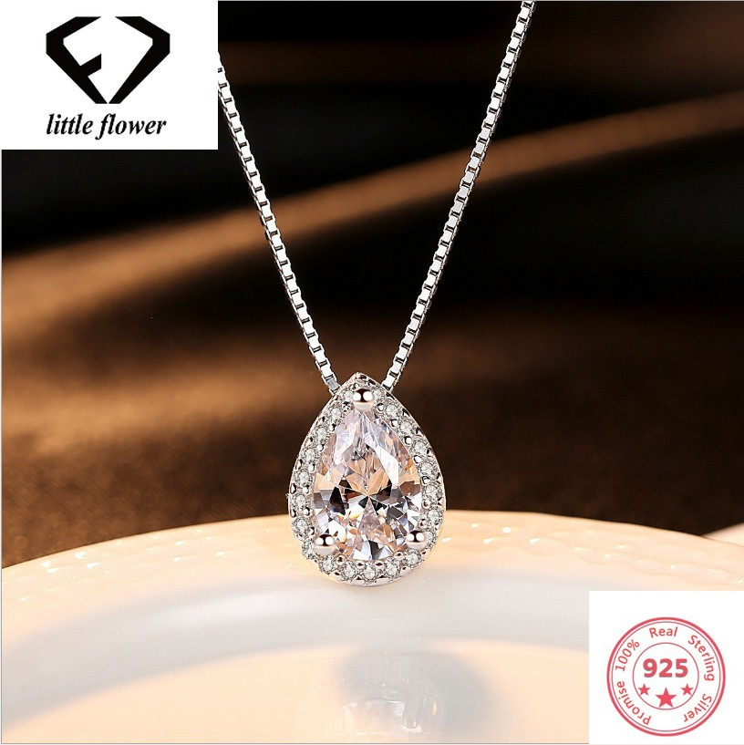 925 Silver Color Necklace Pear-shaped Pendant Jewelry For Women Wedding 925 Gemstone Pierscionki Pendants Bizuteria