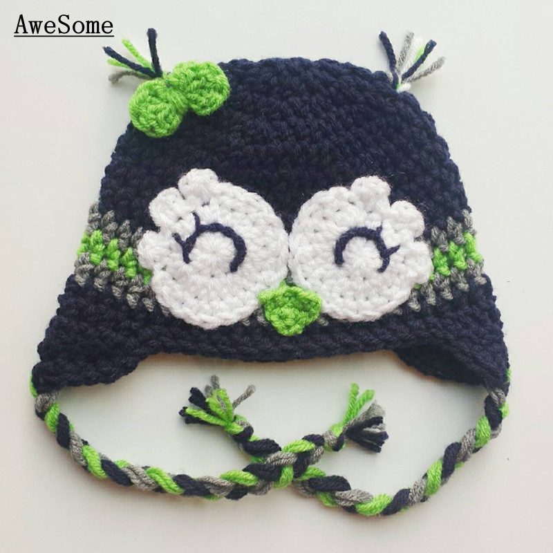 Lovely Seahawks Earflap Hat,Handmade Knit Crochet Baby Boy Girl ...