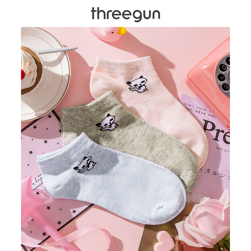 THREEGUN 3 Pairs Women Ankle Socks Low Cut Cotton Casual Comfortable Stretch Kitten Cute Print Soft Girls Short Boat Socks Lots