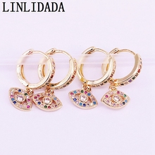 8Pairs Gold color eye charm dangle earring for woman girl sparking rainbow CZ paved jewelry