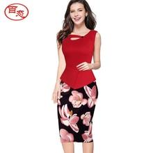 BAITAI Fashion Women font b Dress b font Patchwork Sleeveless Maxi Plus Size High Waist Woman