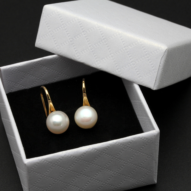 White Pearl Earrings With 18K Gold