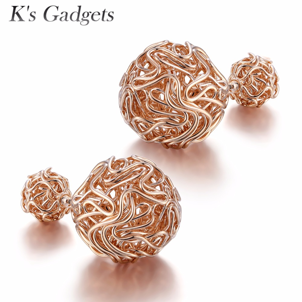 K's Gadgets Double Ball Stud Earrings Rose Gold Color Bijoux women Gold mesh Earrings Simple Channel Silver Double Ball Earrings