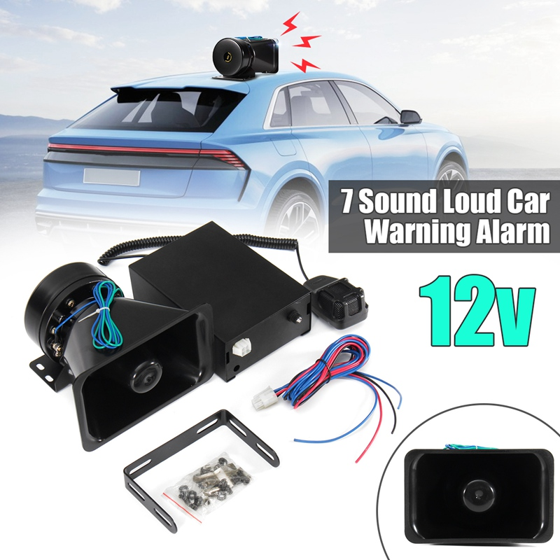100W 7 Sound Ultra Loud Bell Car Warning Alarm For Police Siren Horn PA Speaker MIC System for Ambulance For Fire System