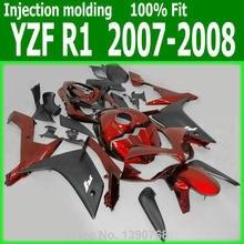 Karosserie kits Für YAMAHA verkleidungen YZF R1 07 08 (Rot schwarz) 2007 2008 Verkleidung kit lx87