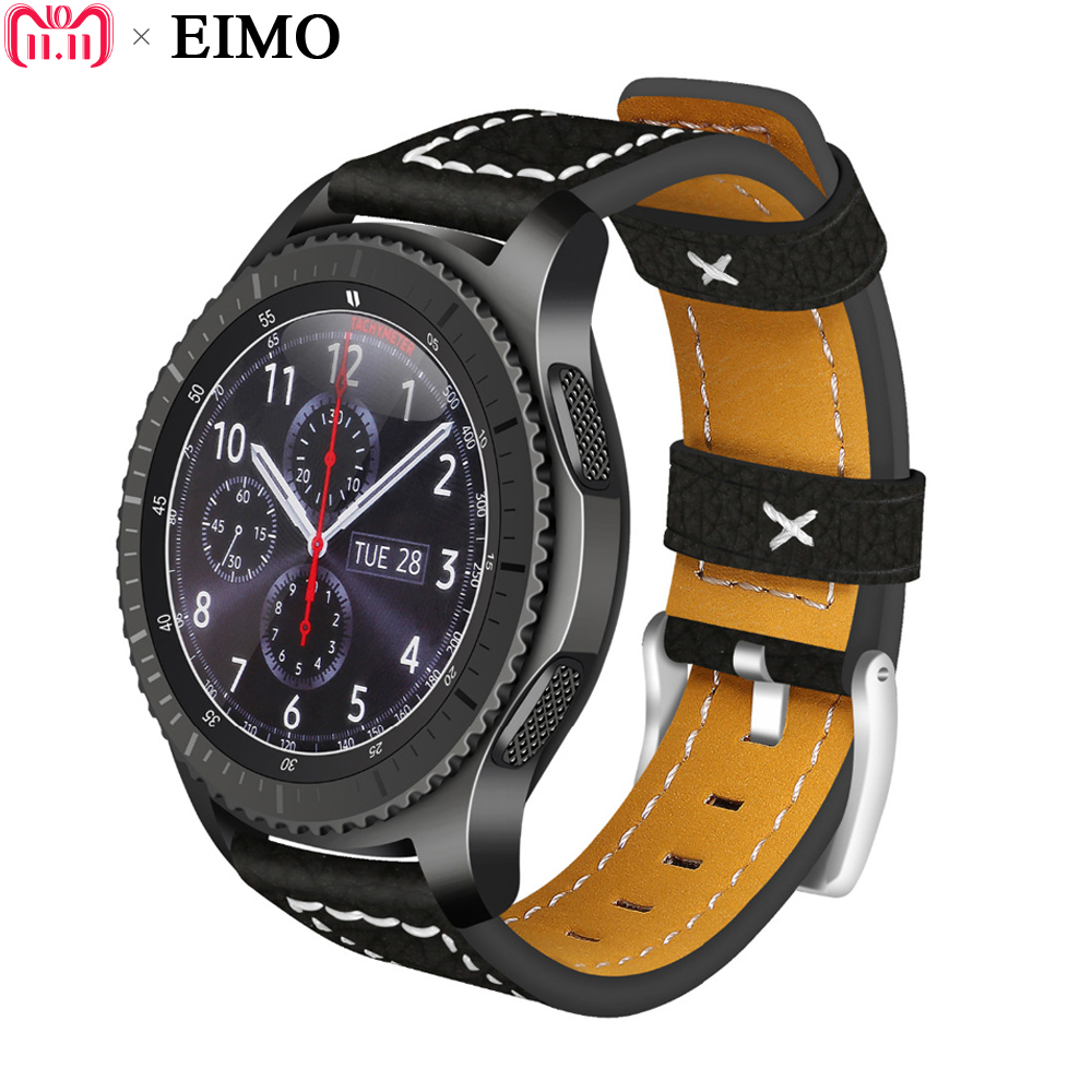EIMO 22mm Watch Strap for Samsung Gear S3 Classic/Frontier Band Genuine Leather wristband bracelet Gear S 3 Smartwatch Watchband 22mm replacement strap for samsung gear s3 classic watch band sport silicone bracelet strap for samsung gear s3 frontier band