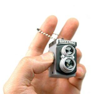 Lindo Mini doble lente doble Reflex TLR estilo de cámara destello de luz LED obturador de la antorcha llavero de sonido