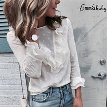 2018 Autumn New Womens Ladies Ruffle Frill Long Sleeve Casual Top Blouse(China)