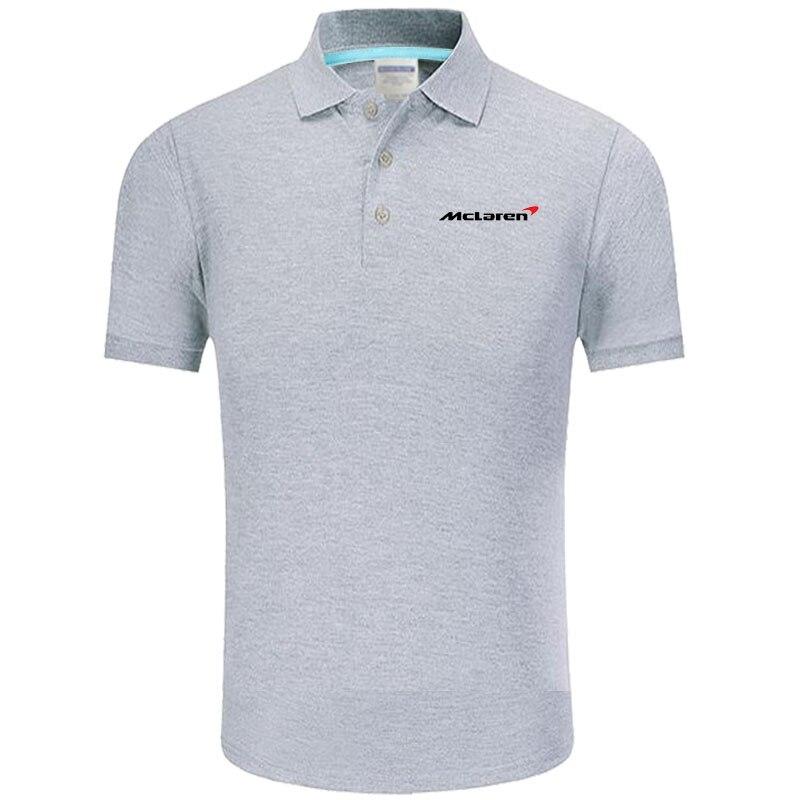 Summer   Polo   Shirt McLaren logo Brand Men's Fashion Cotton Short Sleeve   Polo   Shirts Solid Jersey Tops Tees