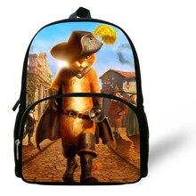 Cute 12 inch Puss In Boots School Bags For Boys Children School Backpacks Cats Printed Kids Backpack Girls Bolsa Infantil Menina