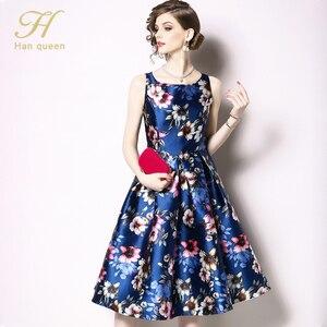 Image 4 - H Han Queen vestido de primavera Vintage sin mangas, Jacquard, ajustado, corte en A, cuello redondo, hasta la rodilla, novedad de 2019