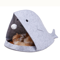 Lovely Shark Shape Pet Cat Felt House Bed with Ball Toy Pet Dog Cat Bed House For Cat Small Medium Size Dogs Pet Product Supply