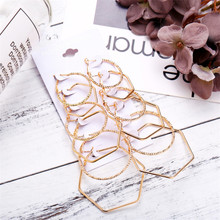 6 Pieces / Set Of Fashion Wild Simple Gold Earrings Female Combination Retro Earring Gifts Brinco