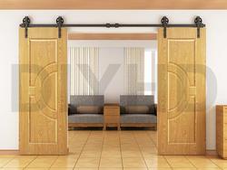 DIYHD 244 см-400 см винтажные черные большой Говорил колеса двойной раздвижные двери сарая hardware set