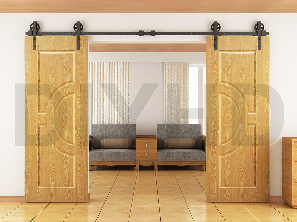DIYHD 244cm-400cm Vintage Black Big Spoke Wheel Double Sliding Barn Door Hardware Set
