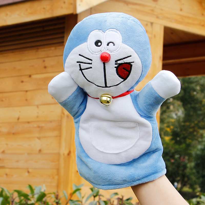 Candice guo! New style cute blue Doraemon plush toy hand puppet baby toy telling story gift 1pc