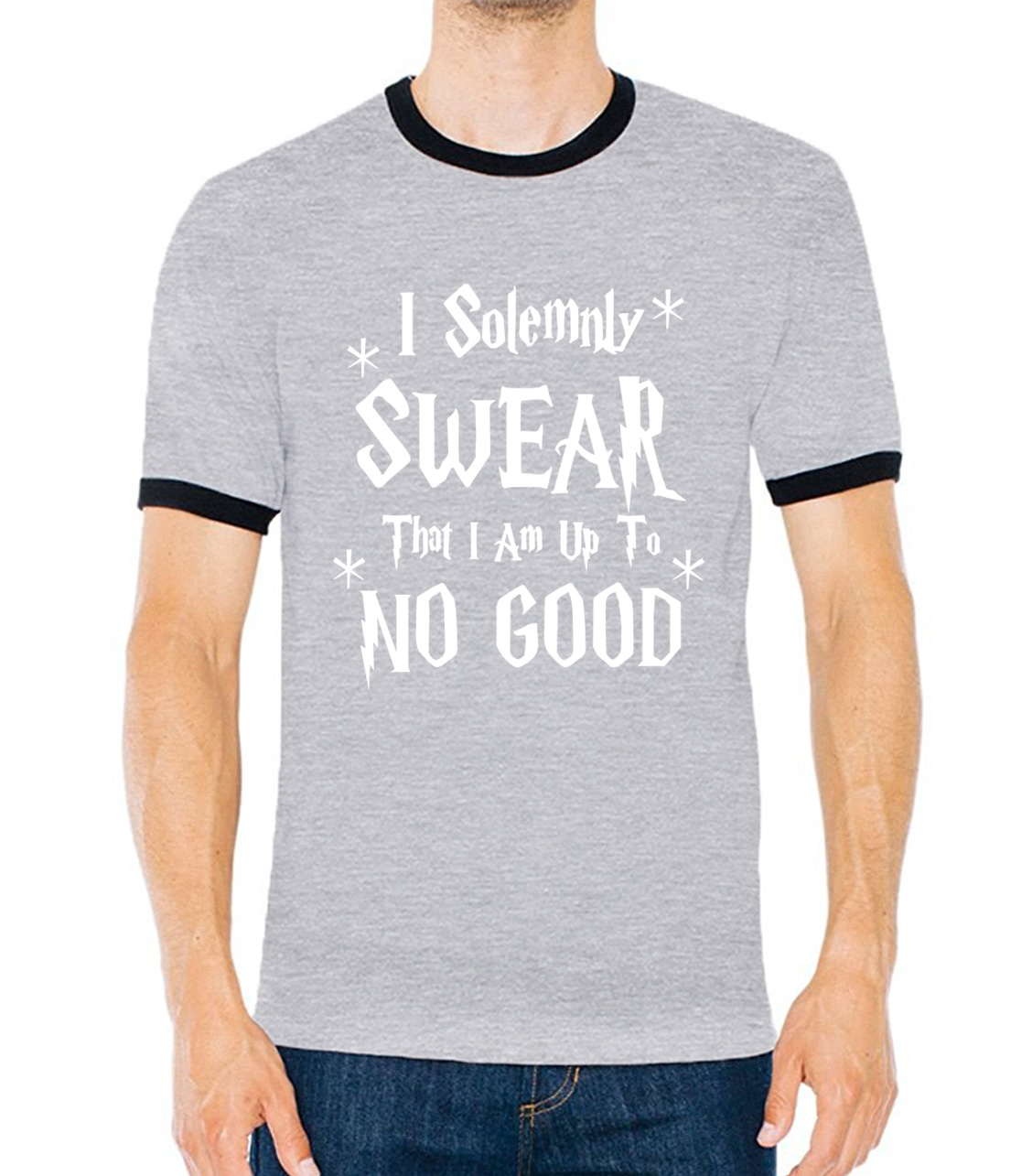 e8162611a I Solemnly Swear That I Am Up To No Good camiseta t shirt hip hop hit  collar tops men 2017 fitness contrast color brand clothing-in T-Shirts from  Men's ...