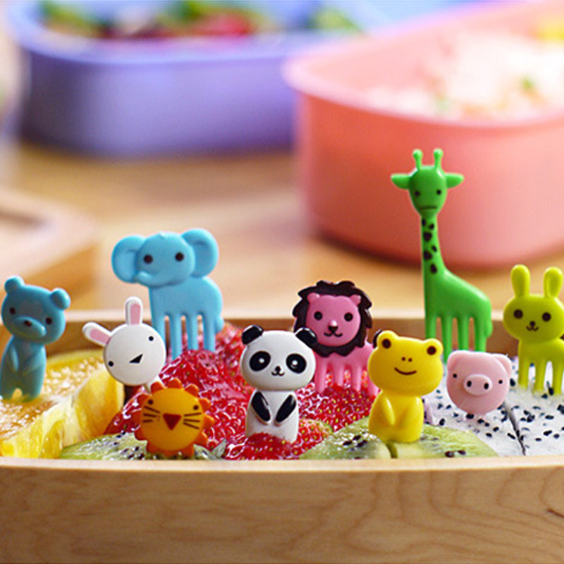 10pcs/pack Animal Farm Fruit Fork Mini Cartoon Children Snack Cake Dessert Pick Toothpick Bento Lunches Party Decoration