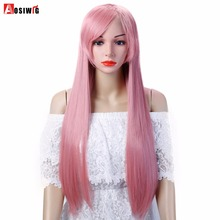 AOSIWIG Long Straight Cosplay Wig Red Green Puprle Pink Black Blue Sliver Gray Brown 75 Cm Synthetic Hair Wigs