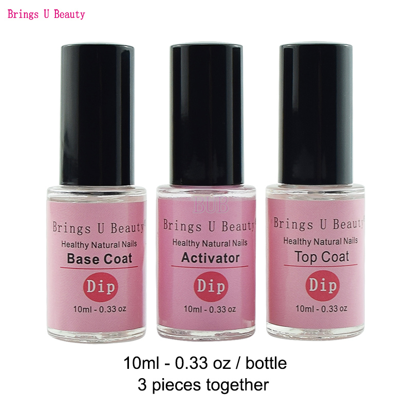 10ml Pre-Bonded Base Coat Top Coat Activator for Dipping Powder No Lamp Cure Nails Natural Dry 6pcs box dipping powder top base coat activator kit dip system no uv light needed fast dry dip powder nails starter kit