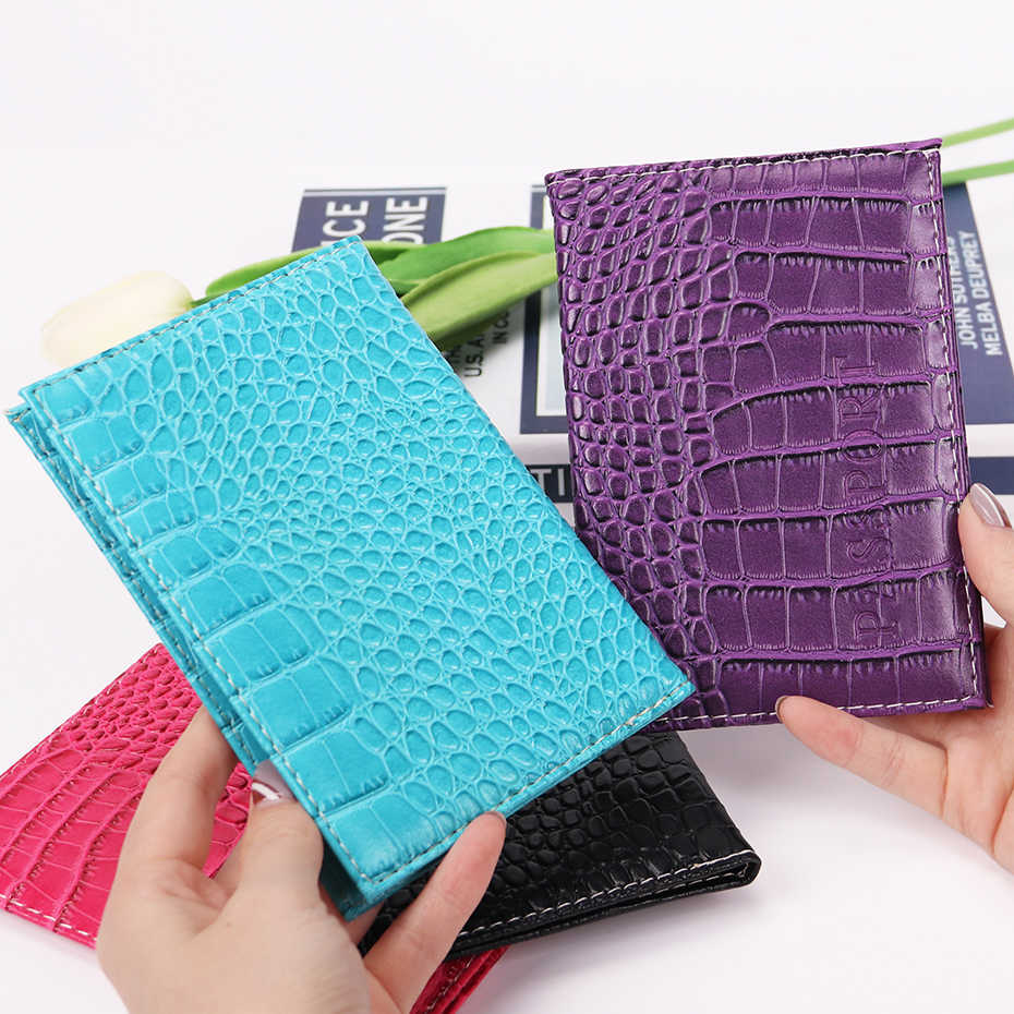 Passport Holder Protector Wallet Business Unisex Card Holder Travel Passport Cover Leather Delicate PU Alligator Embossing Bag