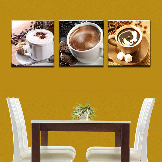 Unframed 3 Panel Food And Cup Of Coffee Tea Modern Canvas Print ...