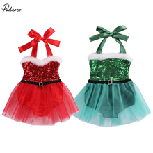 Pudcoco Christmas Sequins Rompers Baby Girls Sleeveless Jumpsuit Playsuit Santa Tutu Skirt Outfits Costume
