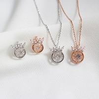 925 corona de plata la joyería niñas aretes collar de cristal fijados, cubic zirconia earing 925 conjuntos de joyería para las mujeres