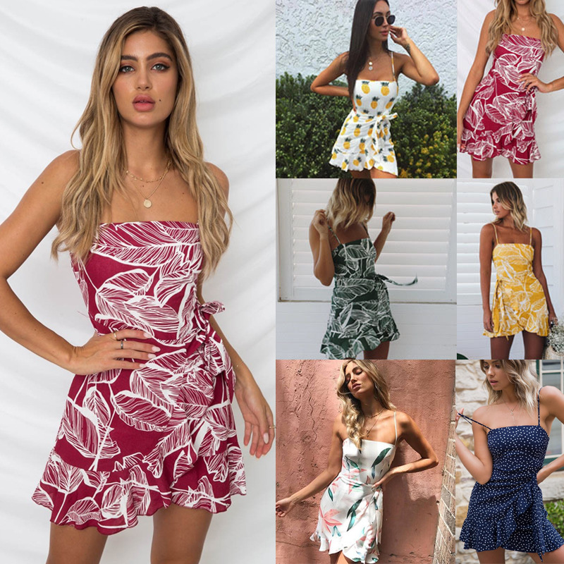 Sexy Strap Summer Mini Dress Print Leaf Fruit Ruffle Sleeveless Backless Casual Bow Tie Boho Beach Sashes Bodycon Dress Vestidos summer casual bodycon dresses