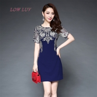 Brand Dress Summer Women High Quality Embroidery Patchwork Hollow Out Dress Casual Short Sleeve Slim Women
