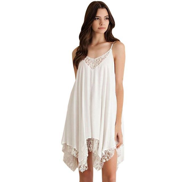 Frauen sommerkleider casual weißes kleid Frauen Sling Sleeveless ...