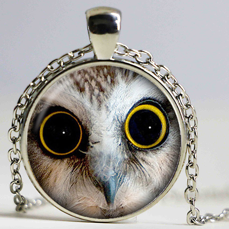 White Snow Owl Photo Cabochon Glass Dome Silver Chain Pendant Necklace