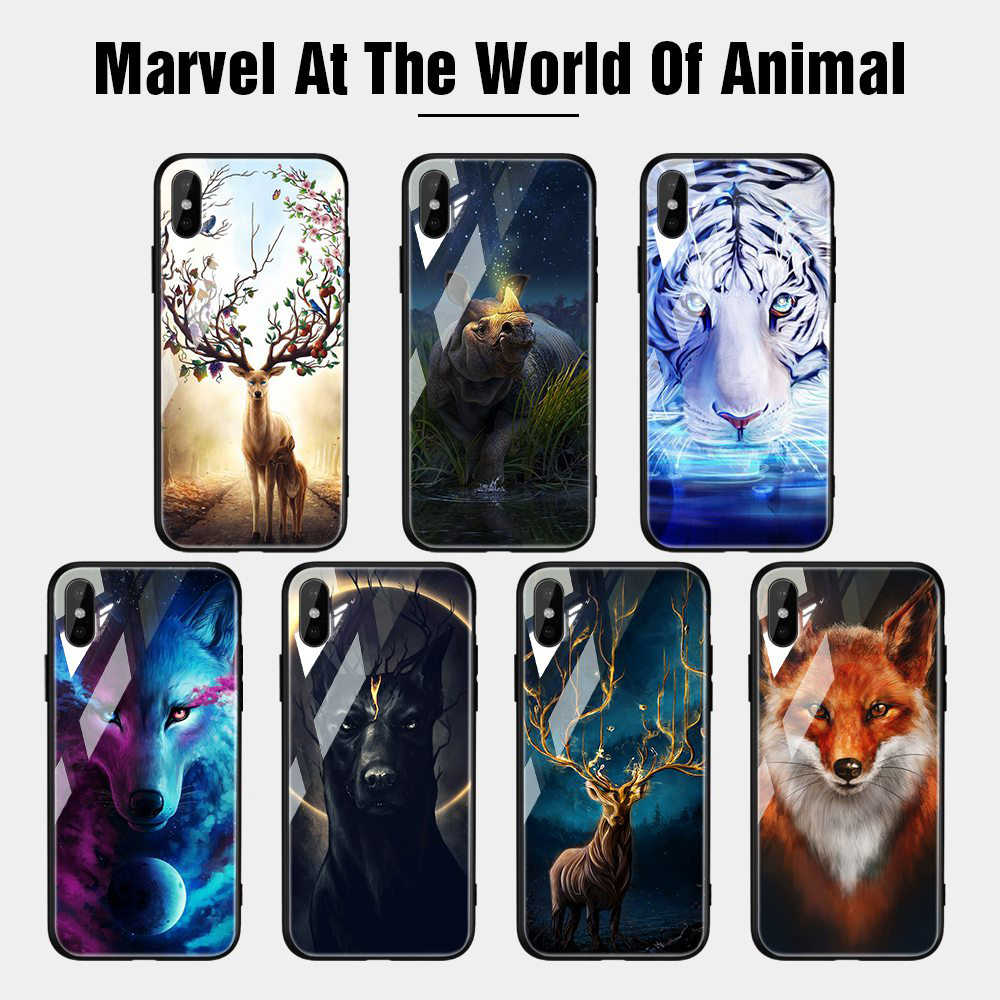 TOMKAS Phone Case For iPhone X XR 8 7 10 6 6s XS Max Glass Animal Cover Case For iPhone 7 8 X 6 6 S Plus XR Luxury Case Coque